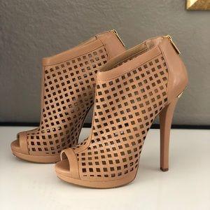 Michael Kors Leather Cutout Graham Bootie Heels